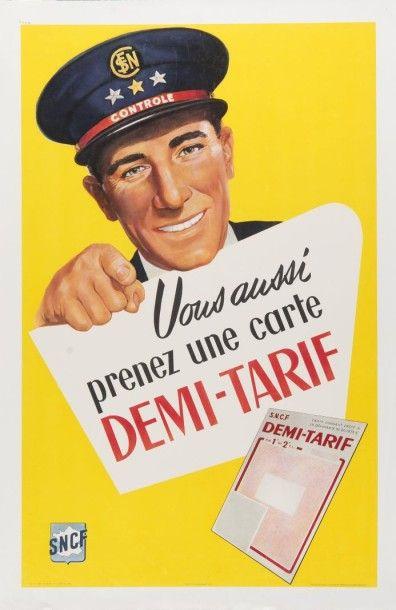 SNCF demi tarif 1958 Affiche entoilée, bon...