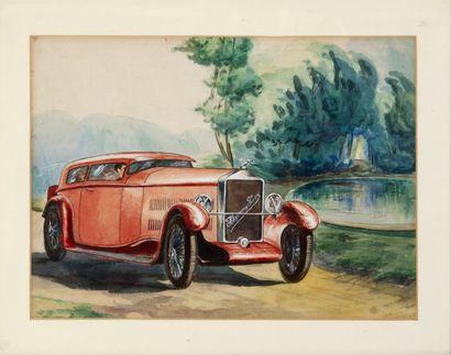 Hispano Suiza Gouache. Datée 1929. 25 x 34...