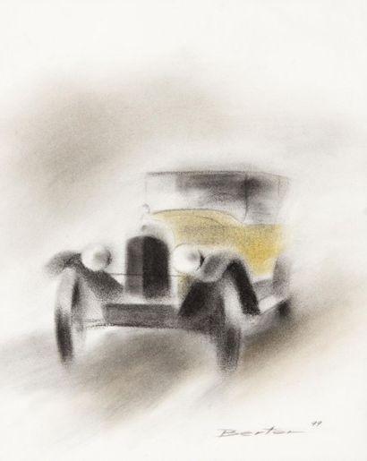Berton Automobile. Pastel. 34 x 27 cm