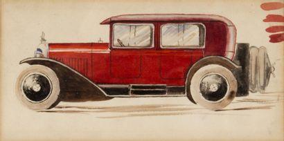 Automobile début XXème siècle Aquarelle....