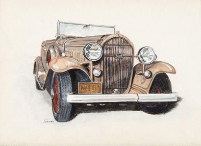 Buick, 1932 Gouache. 20 x 28 cm