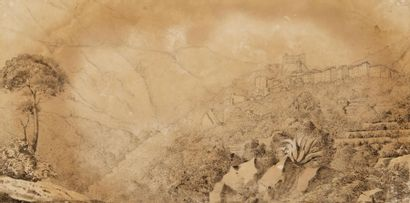 Artiste français en Italie, début du XIXème siècle Village sur une colline. Dessin...