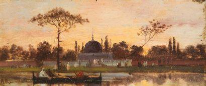 Ecole Orientaliste du XIXème siècle Paysage d?orient. Huile sur carton. Signée A.R....