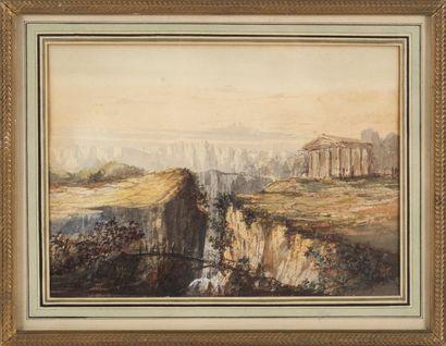 CALLA, élève d'Emile Loubon Temple près de la Sybille près de Tivoli. Aquarelle et...