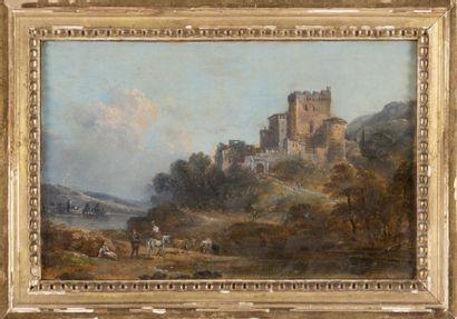 École VÉNITIENNE du XVIIIe siècle Village fortifié près d?une rivière. Huile sur...