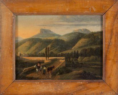 Artiste français en Italie, début du XIXème siècle Paysage d?Italie animé près de...