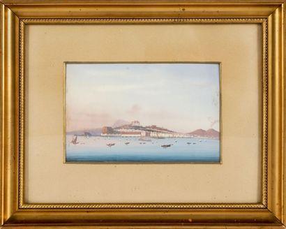 Augusto CORELLI (1853-1910) Vue de Naples. Aquarelle. 13,5 x 21 cm