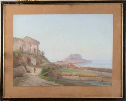 Léon Gabriel COFFINIERES de NORDECK (? - 1898) Paysage méditerranéen animé. Gouache....