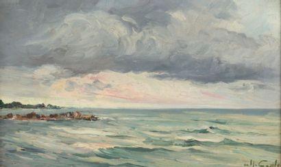 Alfred CASILE (1848-1909) Mer et nuages. Huile sur panneau. Signée en bas à droite....