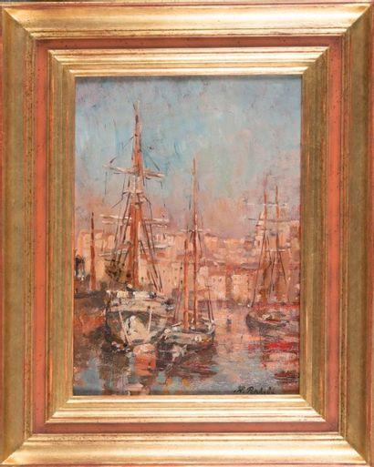 Horace RICHEBE (1871-1964) Voiliers dans le Port de Marseille. Huile sur panneau....
