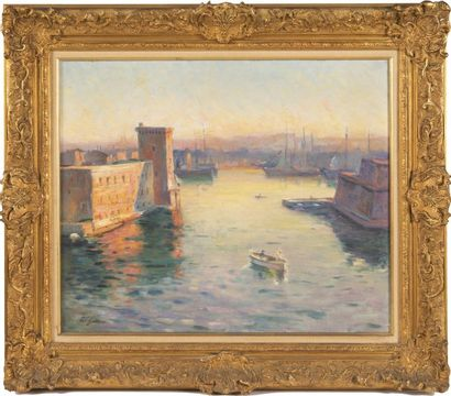 Adolphe Louis GAUSSEN (1871-1954) L?Entrée du port de Marseille. Huile sur toile....