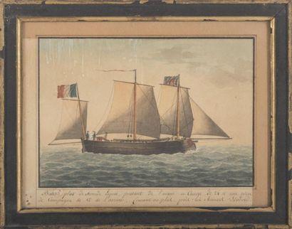Ecole du XIXème siècle Trois mâts. Aquarelle. 25 x 33 cm