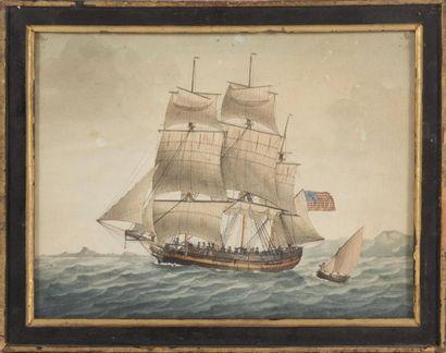 Ecole du XIXème siècle Portrait de bateau. Aquarelle. 25 x 33 cm