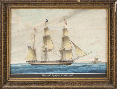 ECOLE FRANCAISE DU XIXème siècle Portrait du Général Foy, Capitaine Godreuil. Aquarelle....
