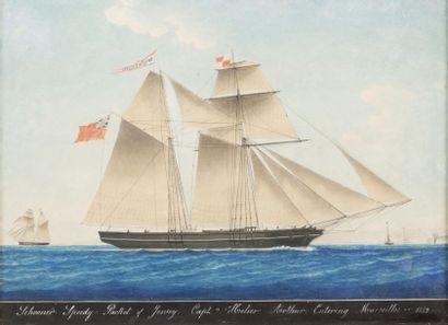 Joseph Honoré PELLEGRIN (1793-1869) Portait d?un navire. Aquarelle. Manques. 43 x...