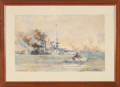 Bernard LACHEVRE (1885-1950) La flotte française à Toulon. Aquarelle. 30 x 45 cm