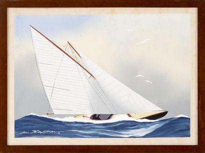 Léon HAFFNER (1881-1972) Bateau au près. Pochoir. 46 x 32 cm