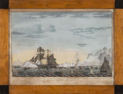 Ecole Danoise du XIXème siècle Suite de trois aquarelles sur les guerres napoléoniennes:...
