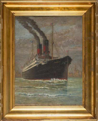 ANONYME Paquebot Frederic VIII. Huile sur carton. 57 x 43 cm