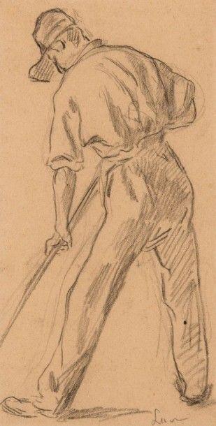 Maximilien Luce (1858-1941) Paysan. Dessin à la mine de plomb. Signé en bas à droite....