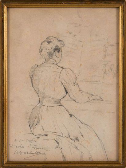 Joseph GARIBALDI (1863-1941) Jeune femme au piano. Mine de plomb. Signée et dédicacée...