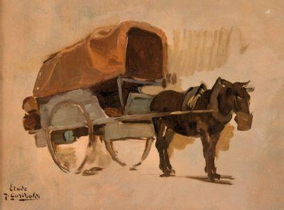 Joseph GARIBALDI (1863-1941) Le cheval à la charrette. Huile sur toile. Signée et...