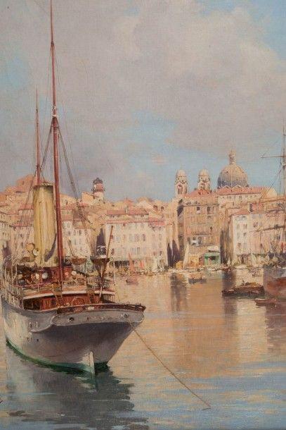 Joseph GARIBALDI (1863-1941) Le port de Marseille. Huile sur toile. Signée en bas...