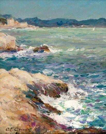 Adolphe Louis GAUSSEN (1871-1954) La corniche à Marseille. Huile sur panneau. Signée...