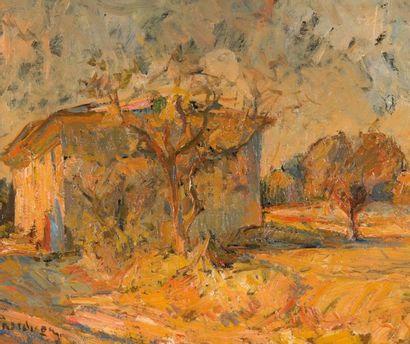 Joseph RAVAISOU (1865-1925) La bastide dans le pays d'Aix. Huile sur toile. Signée...
