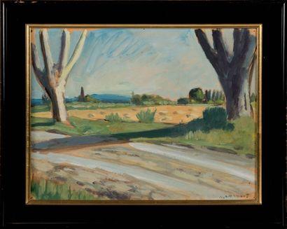 Auguste CHABAUD (1882-1955) Paysage aux grands arbres. Huile sur carton. Signée en...
