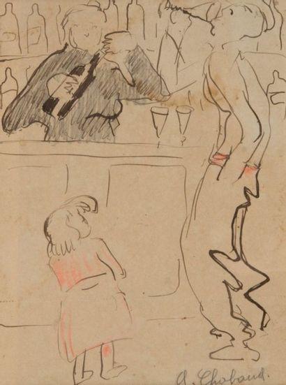 Auguste CHABAUD (1882-1955) Au comptoir. Circa 1905. Dessin. Signé en bas à droite....