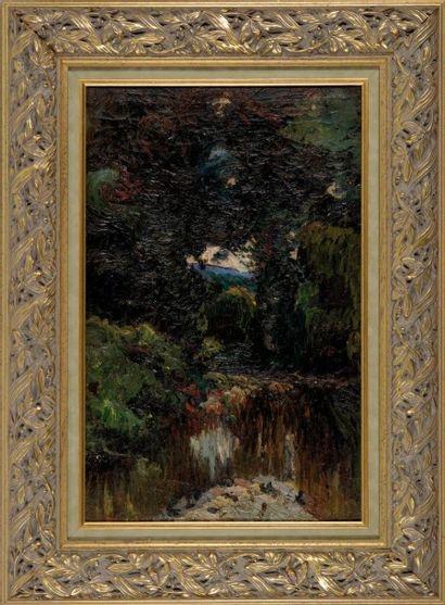 Louis Mathieu VERDILHAN (1875-1928) Le parc de Versailles. Huile sur toile. 61 x...