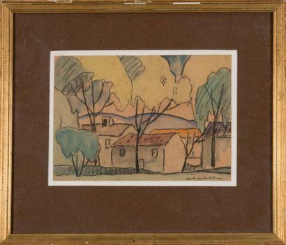 Louis Mathieu VERDILHAN (1875-1928) Bastide en provence. Aquarelle. Signée en bas...