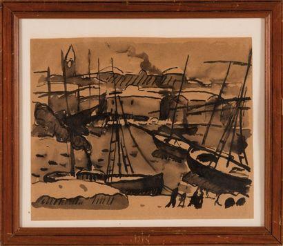 Louis Mathieu VERDILHAN (1875-1928) attribué à Les Accoules, 1920. Lavis d'encre...