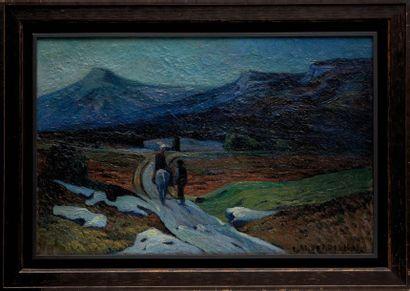 Louis Mathieu VERDILHAN (1875-1928) Le retour des champs. Huile sur toile. Signée...