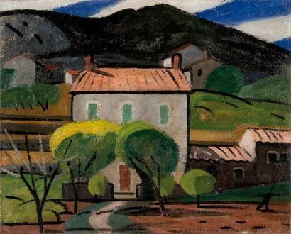 Louis Mathieu VERDILHAN (1875-1928) Mas en provence. Huile sur toile. Signée en bas...