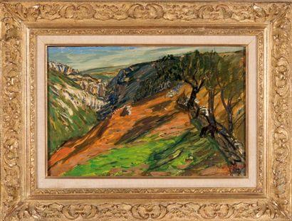 RENE SEYSSAUD (1867-1952) Pentes dans le Vaucluse. 1900. Détrempe sur carton. Signée...