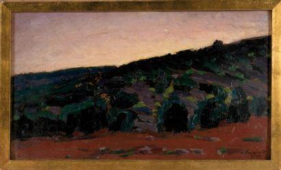 RENE SEYSSAUD (1867-1952) L'aube. Huile sur carton. Signée et datée 1898 en bas à...