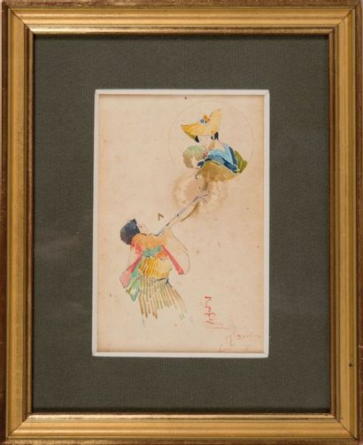 David DELLEPIANE (1866-1932) Personnages japonnais. Aquarelle. Signée en bas à droite....