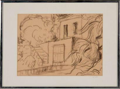 Willy EISENSCHITZ (1889-1974) Un coin de parc 1945. Dessin. Cachet d'atelier en bas...