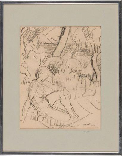 Willy EISENSCHITZ (1889-1974) Nu assis dans la nature 1947. Dessin. Cachet d'atelier...