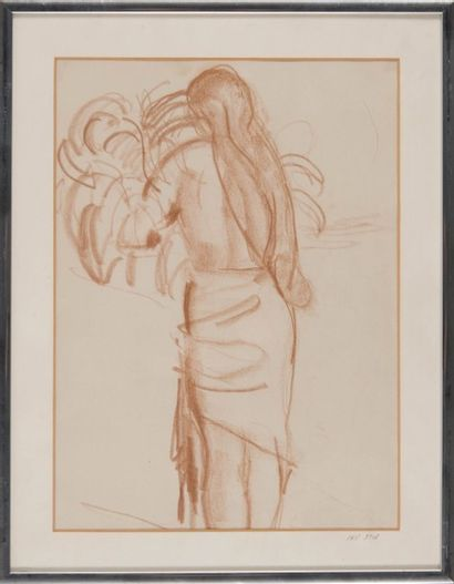 Willy EISENSCHITZ (1889-1974) Jeune femme de dos 1930. Dessin (pastel brun). 30 x...