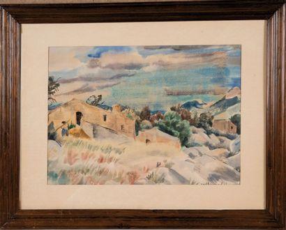 Willy EISENSCHITZ (1889-1974) Paysage 1930. Aquarelle. Signée en bas à droite. 38...