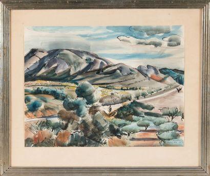 Willy EISENSCHITZ (1889-1974) Paysage animé dans la Drôme. Aquarelle. Signée, dédicacée...