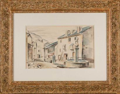 André LHOTE (1885-1962) La fontaine du village. Aquarelle. Signée en bas à gauche....