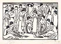 Danse de femmes Malgaches Bois gravé sur...
