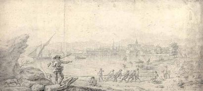 Paul Pierre GREGOIRE d'AIX (1755-?) Le port de Toulon. Dessin. 29 x 64 cm. Inscription...