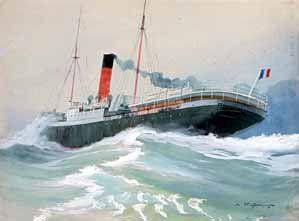 Léon HAFFNER (1881-1972) Cargo dans la tempête. Gouache. Signée en bas à droite....