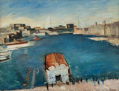 - Edmond CERIA (1884-1955) Vue du port de Marseille avec le pont transbordeur. Huile...