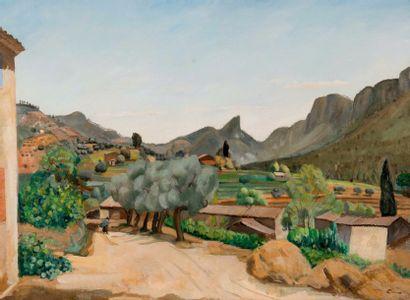 Edmond CERIA (1884-1955)  Route provençale.  Huile sur toile.  Signée en bas à droite....